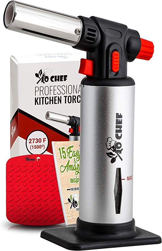 Jo Chef Kitchen Torch Blow Torch Refillable Butane Torch With Safety Lock Adjustable Flame Fuel Gauge Culinary Torch Creme Br L E Torch For Cooking Food Baking BBQ More FREE E Book