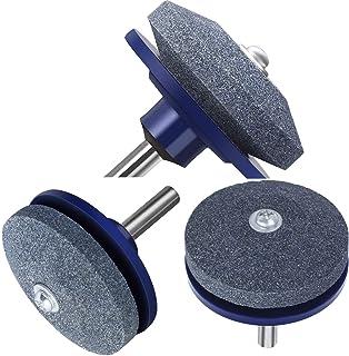 Xgood 3 Pieces Blue Lawn Mower Sharpener Blade Drill Lawnmower Sharpener for Any Power Drill
