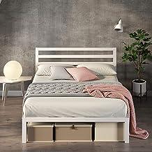 Zinus White Modern Metal Steel Platform Double Size Bed Frame Headboard Base Mattress Foundation | Wooden Slats Under Bed ...