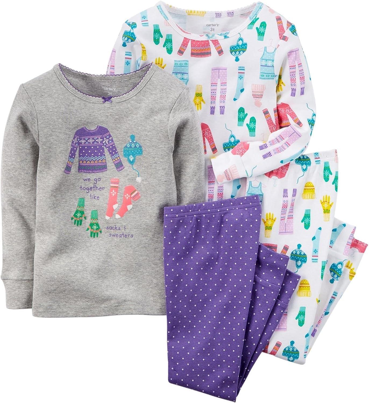 Carter's Baby Girl's 4 Piece PJ Set - Snow Gear - 6 Months