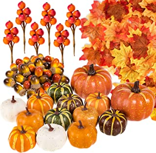 Whaline 160 Pcs Autumn Artificial Maple Leaves, Harvest Pumpkins, Gourds, Acorns and Orange Berry Stems Set, Fall and Than...