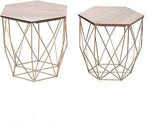 Cribel Modello Bloom Coffee Table Interamente in Legno di faggio con rifinitura Dorata sui Tre Piedi Altezza 41 cm