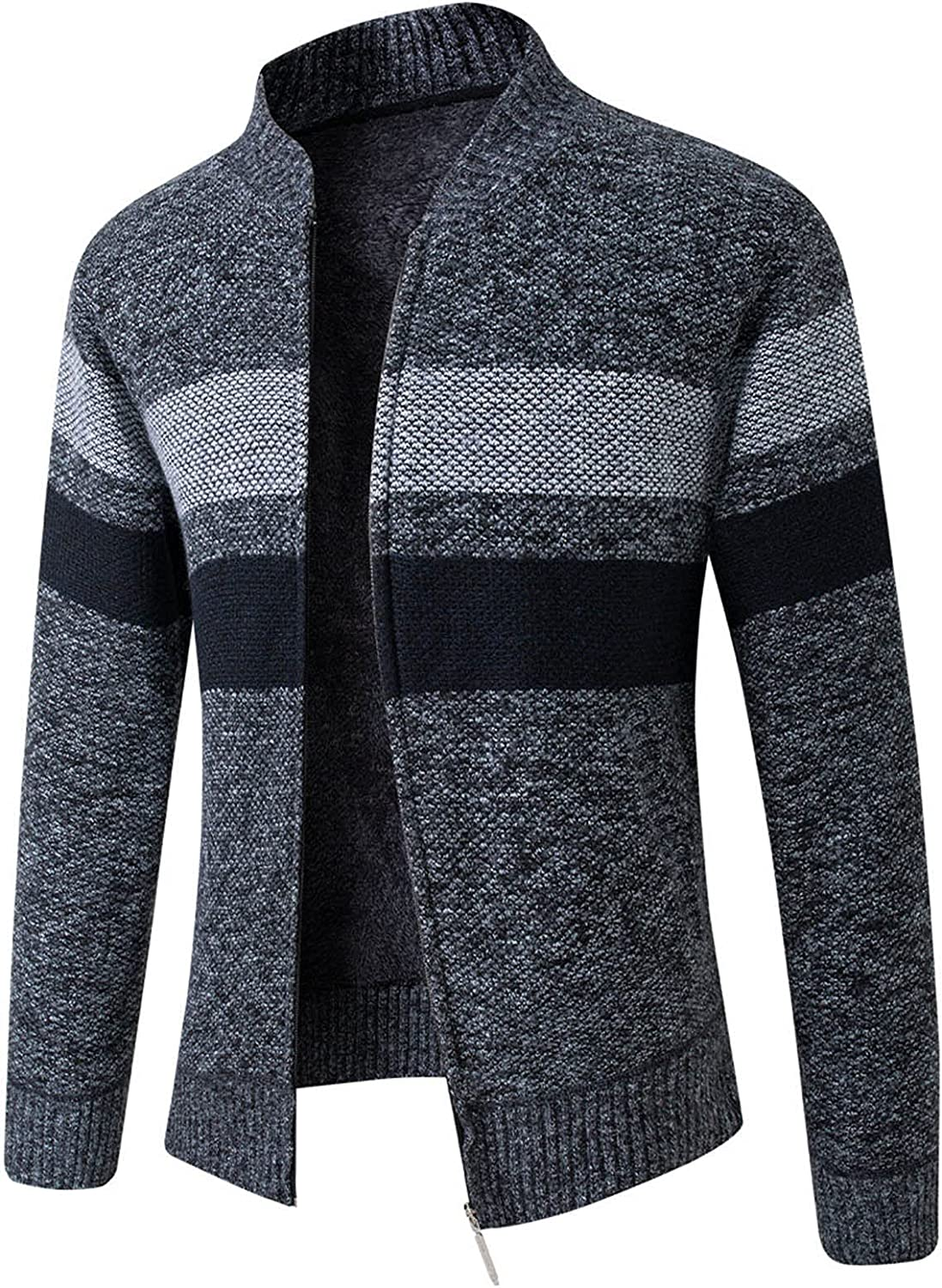 FORUU Men's Sweater Jacket Fall Winter Overcoat Color Matching Stand-up Collar Wool Coat Casual Knitted Sweater Coat