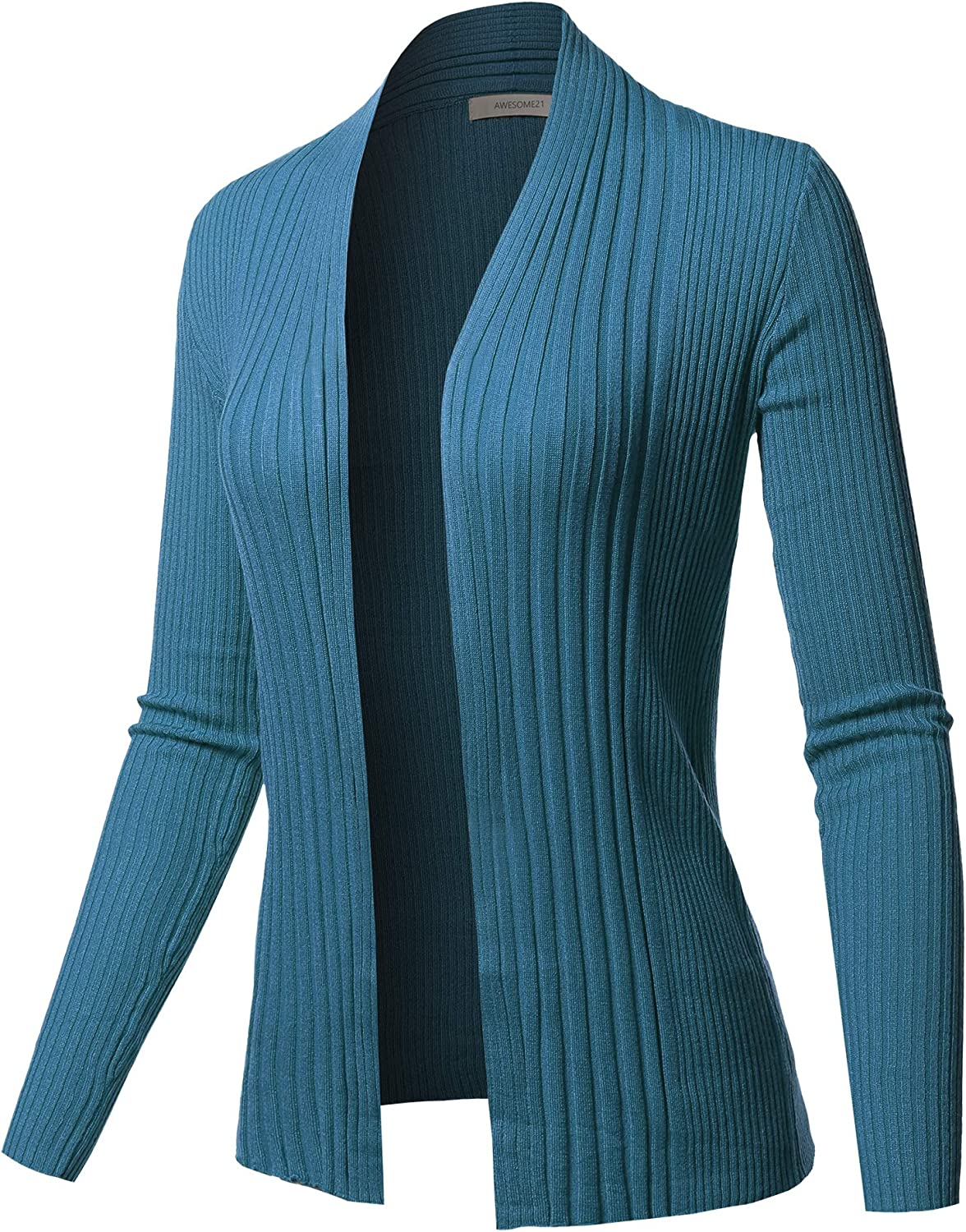 Women's Outerwear Basic Solid Long Sleeve Ribbed Open Front Cardigan