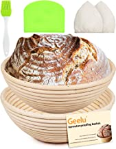 Round Bread Banneton Proofing Basket Kit Bowl Set of 2 Sourdough Natural Rattan Proofing Baskets 9 Inch with Dough Scraper...