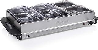 Tristar Chauffe-Plat BP-6285, Capacité 2 x 2.4 L + 2 x 1 L-Fonction Maintien au Chaud, Gris métal