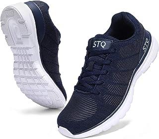 أحذية مشي STQ للنساء مع نعل مطاطي مطاطي مطاطي خفيف الوزن رياضي لممارسة رياضة تنس الطريق الجري أزرق داكن 8. 5