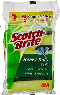 Scotch-Brite 213VP Heavy Duty Sponge, Green/Yellow, Pack of 4