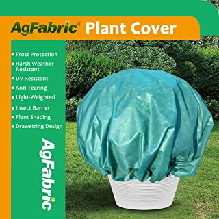 Agfabric Plant Cover Round Warm Worth Frost Blanket - 0.95 oz 8'Dia Shrub Jacket, 3D Dome Plant Cover for Season Extension&Frost Protection,Dark Green