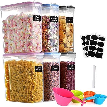 GoMaihe Lot de 6 boîtes à céréales en plastique avec couvercles hermétiques - 4 l - Convient pour la nourriture, les céréales, la cuisine et le rangement