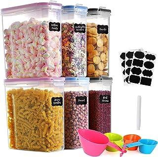 GoMaihe Lot de 6 boîtes à céréales en plastique avec couvercles hermétiques - 4 l - Convient pour la nourriture, les céréa...