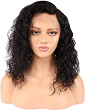 Human Hair Lace Front Wigs, Brazilian Virgin Hair for Black Women, Curly Wave, Natural Black Color, 130% Density, 8 inch