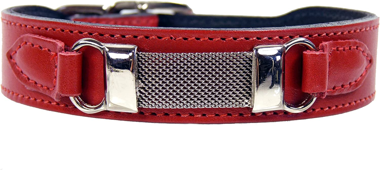 Hartman & pink Barclay Collection Dog Collar, Ferrari Red, 1820Inch