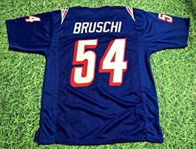 TEDY BRUSCHI BLUE NEW ENGLAND THROWBACK CUSTOM STITCHED NEW FOOTBALL JERSEY MEN'S XL