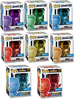 Funko Colored Ultimate Infinity Stones Collector's Set POP! Marvel: Exclusive Chrome Hulk Infinity Stone Set 499 (6 Colors) + Thanos Avengers # 289 Red & Blue (MEGA 8 Pack Store Exclusive Bundle)