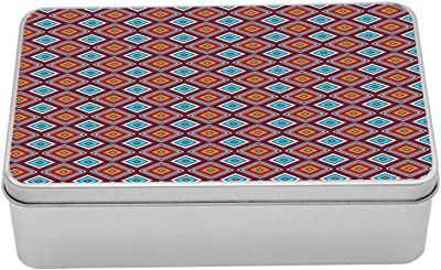 "Ambesonne Geometric Metal Box, Continuous Vibrant Pattern of Stripes and Nested Squares Illustration, Multi-Purpose Rectangular Tin Box Container with Lid, 7.2"" X 4.7"" X 2.2"", Multicolor"
