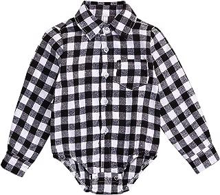 Newborn Baby Girl Boy Blouse Plaid Deer Plaid Flannel Romper Bodysuit Clothes