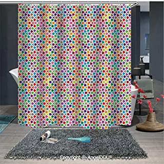 AngelDOU Geometric Waterproof 3D Printed Shower Curtain Fidget Spinner Shaped Abstract Rainbow Colored Image Geometric Ornamental Patter for Home Bathroom Decoration