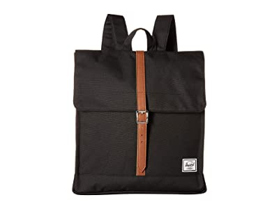 Herschel Supply Co. City Mid-Volume (Black/Tan Synthetic Leather) Backpack Bags