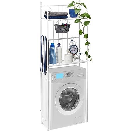 Relaxdays, Étagère de WC Blanche avec 2 étagères - pour Machine à Laver - 166,5 x 59,5 x 26 cm