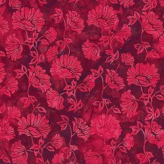 Celestial Blossoms 3745- Hearts Batik RedPink Batiks by Batik Textile