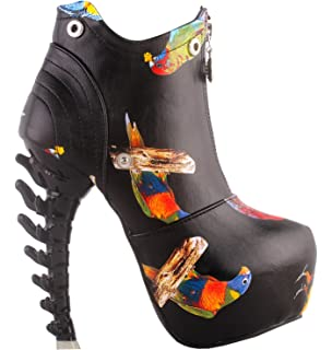 SHOW STORY Black/White Zip High-top Bone High Heel Platform Ankle Boots,LF40605