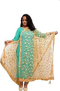 Agnaaya Woman's Golden embroidered net dupatta