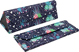 REAL SIC Cactus Glasses Case - Leather Magnetic Folding Hard Case for Sunglasses