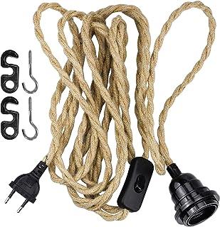 WEKON Cable de Cáñamo para Lámpara, Cable de Cañamo para Lámpara de Techo, Cacable de Luz con Cuerda de Cáñamo 3.5M Tipo E26 250V 3A con Cable y Interruptor Color Marrón Natural