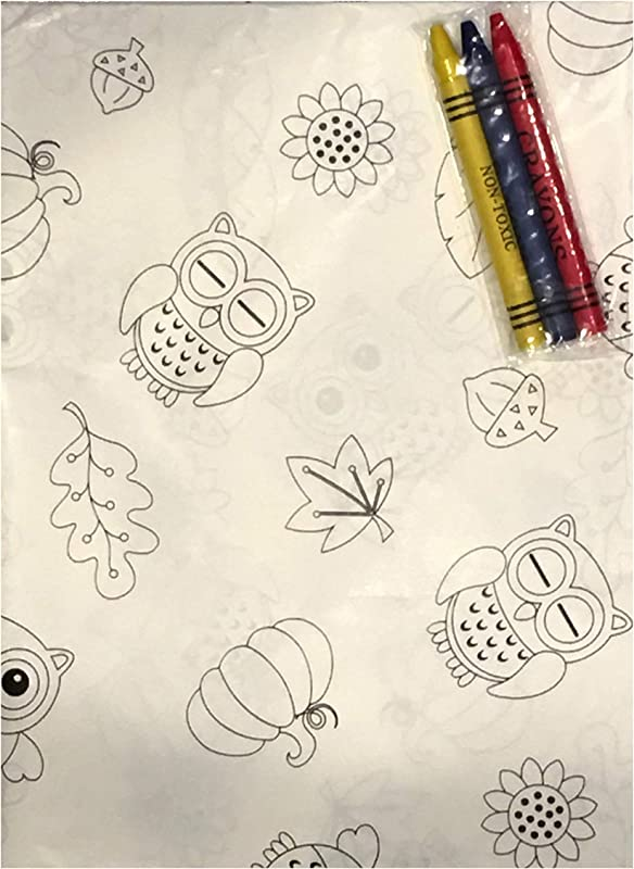 Plum Nellie S Treasures Coloring Tablecloth Color Me Fall Themed Paper Tablecloth 54 X 54 Owls Leaves Acorns Sunflowers Owl Friends Thanksgiving