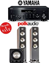 Yamaha R-N803BL Network Stereo A/V Receiver + Polk Audio S60 + Polk Audio HTS12 - 2.1-Ch Home Theater Package (Walnut)