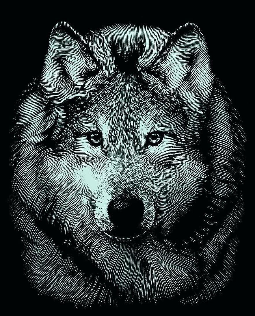 Mammut 130004 - Kratzbild Mini Silber - Wolf, 11 x 18 cm