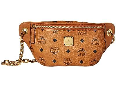 MCM Essential Visetos Original Crossbody Mini (Cognac) Handbags