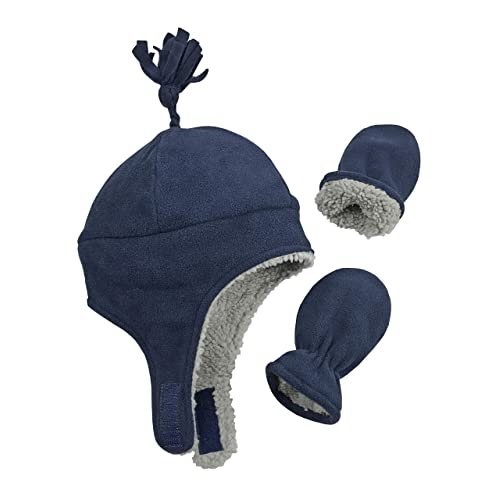 45608c91184 N Ice Caps Little Boys and Baby Sherpa Lined Micro Fleece Pilot Hat Mitten  Set