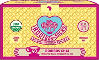 Rooibos Chai Tea Immune Support Teabags - 40 Organic Non GMO Naturally Caffeine Free South African Red Bush Tagless Herbal...