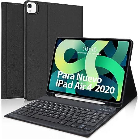 Teclado Español para iPad Air 4,KVAGO Funda con Teclado Bluetooth para iPad Air 4 10.9 2020/iPad Pro 11 2020/2018,Ultra Slim Función de Soporte ...