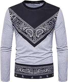 Men's Bandana Printed Long Sleeve T Shirt Round Neck Urban Wear