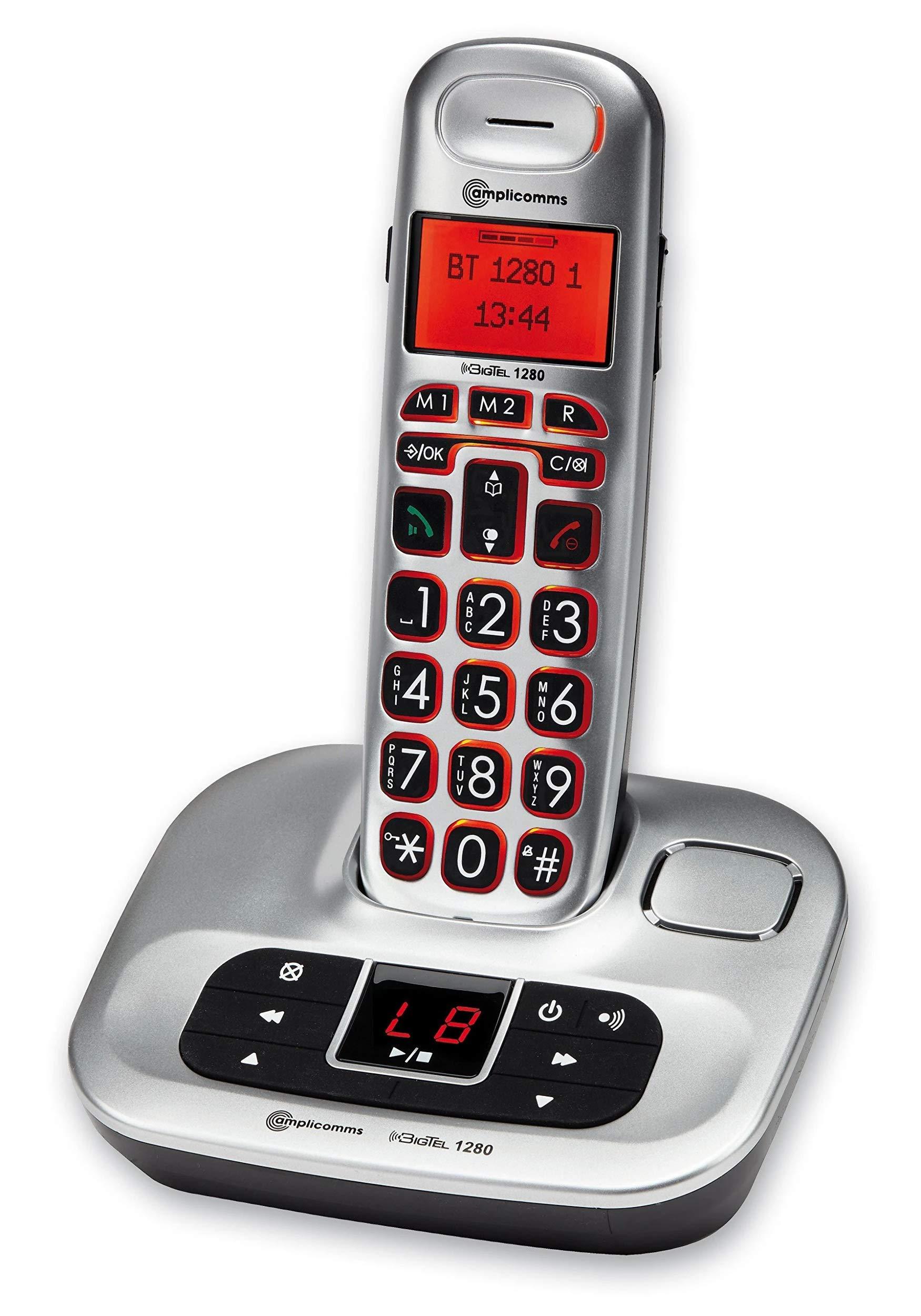 Amplicomms BigTel 1280 amplificada – Teléfono inalámbrico con contestador automático Digital: Amazon.es: Electrónica