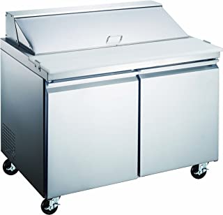 2 Door Stainless Steel Sandwich Salad Prep Table - Refrigerated Work Station for Commercial Kitchen; 48