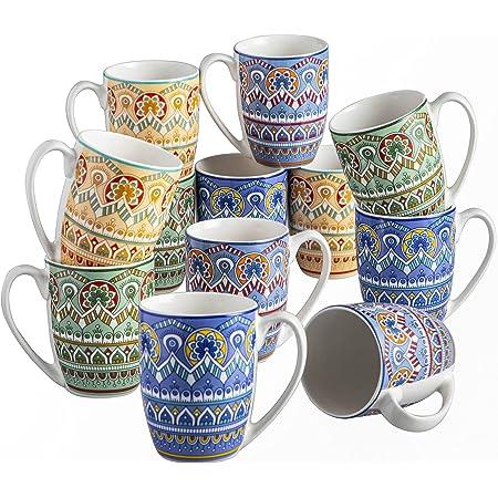 vancasso, Série Mandala, Tasses Mugs en Porcelaine, 12 Pièces 300ml, Ensemble de Tasse à Café Thé, Faïence Style Bohémien