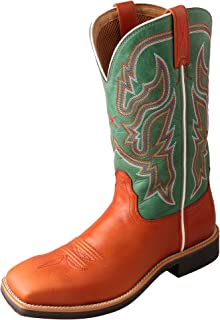 Women's Neon Green Top Hand Cowgirl Boot Square Toe