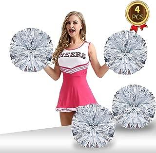 Pack of 4 Cheerleading Pom Poms Foil Plastic Metallic Cheerleader Pom Poms for Cheer Sport Kids Adults Team Spirit Cheering