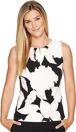Ivanka Trump - Knit Printed Sleeveless Bead Neck Top