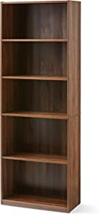 "PFS 71"" Tall Wood 5 Shelf Bookcase Closed Back Storage Shelves Bookshelf Book Case (Canyon Walnut)"