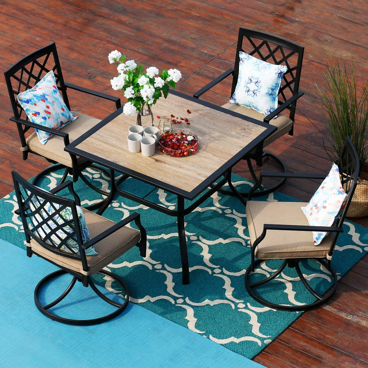 PHI VILLA 9 Piece Outdoor Patio Bistro Swivel Chairs and Wood Like Square  Dining Table Furniture Set