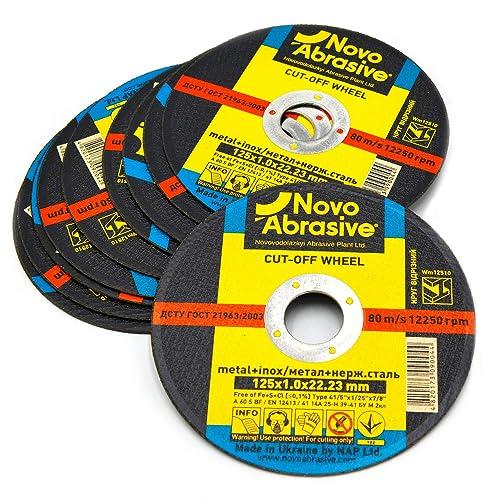 NOVOABRASIVE Discos De Corte 125 x 1,0 x 22,2 mm. Juego de 10 piezas. Para Metal, Acero Inoxidable, Acero Y Metales No Ferrosos.