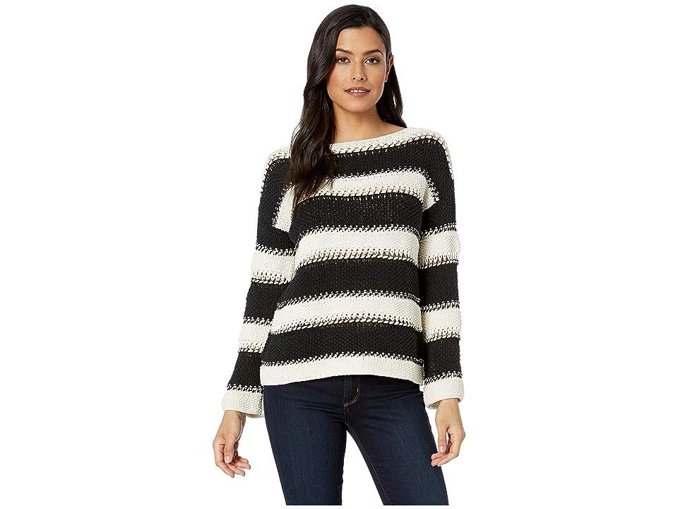 Elliott Lauren A Stitch in Time Easy Open Knit Stripe Sweater (Black/Cream) Women