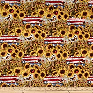 Springs Creative Products Susan Winget Patriotic America My Heart My Home Multi Fabric Fabric by the Yard