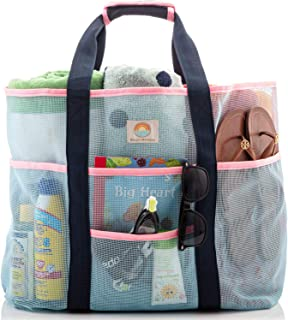 Mesh Beach Bag – Large Family Tote for Women – Extra Storage with 9 Pockets, Comfortable Shoulder Strap for Beach, Pool