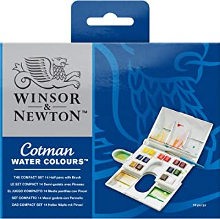 Winsor & Newton Cotman Water Colour Paint Compact Set, Set of 14, Half Pans
